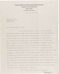 "Autographs:Celebrities, Albert Einstein Typed Letter Signed. One page, 8"" x 10"", Princeton,New Jersey, April 4, 1938, on ""The Institute for Advan..."