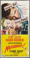 """Movie Posters:Hitchcock, Notorious (SRO, R-1954). Three Sheet (41"""" X 81""""). Hitchcock.. ..."""