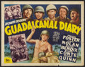 "Movie Posters:War, Guadalcanal Diary (20th Century Fox, 1943). Half Sheet (22"" X 28"").War.. ..."