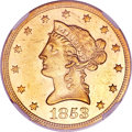 Liberty Eagles, 1853 $10 MS61 NGC....