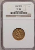 1847-C $5 VF35 NGC. NGC Census: (13/215). PCGS Population (18/128). Mintage: 84,100. Numismedia Wsl. Price for problem f...