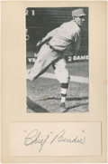 Baseball Collectibles:Others, Chief Bender Signed Cut Signature Display....