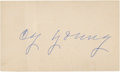 Baseball Collectibles:Others, Cy Young Signed Index Card....