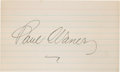 Baseball Collectibles:Others, Paul Waner Signed Index Card....