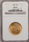 Indian Eagles: , 1909 $10 AU53 NGC. NGC Census: (14/1533). PCGS Population(42/1262). Mintage: 184,700. Numismedia Wsl. Price for problemfr...