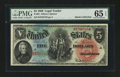 Large Size:Legal Tender Notes, Fr. 64 $5 1869 Legal Tender PMG Gem Uncirculated 65 EPQ....