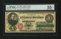 Large Size:Legal Tender Notes, Fr. 16 $1 1862 Legal Tender PMG About Uncirculated 55 EPQ....