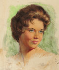 Pin-up and Glamour Art, ZOE MOZERT (American 1904-1993). Brunette. Pastel on paper.15 x 12.5 in.. Signed lower right. ...