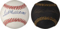 Baseball Collectibles:Balls, Ted Williams and Eddie Mathews Single Signed Baseballs Lot of 2....