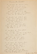 "Autographs:Authors, Katharine Lee Bates Autograph Lyrics to ""America the Beautiful""Signed ""Katharine Lee Bates."" One page, 7.25... (Total: 3Items)"