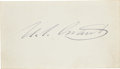 "Autographs:U.S. Presidents, Ulysses S. Grant Signature, ""U. S. Grant"", on a card (3.25""x 2"") with cover addressed to an autograph seeker. Light soi..."