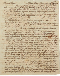 "Philadelphia 1776: William Vernon Jr. Autograph Letter Signed. Two and one-half pages, 6.5"" x 8"", Nassau Hall..."