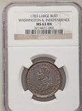 Colonials, 1783 1C Washington & Independence Cent, Large Military Bust MS63 Brown NGC. Baker-4, R.1....