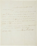 """Autographs:U.S. Presidents, James Buchanan Autograph Letter Signed. One page, 8"""" x 10"""", Lancaster [Pennsylvania], April 24, 1849, thanking Ann Chase for..."""