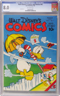 Golden Age (1938-1955):Cartoon Character, Walt Disney's Comics and Stories #42 (Dell, 1944) CGC VF 8.0Off-white pages....