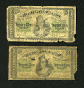 Canadian Currency: , DC-1c 25¢ 1870 Two Examples.. . ... (Total: 2 notes)