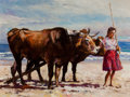 Paintings, PAL FRIED (Hungarian/American, 1893-1976). Woman with Oxen. Oil on canvas. 30 x 40 in.. Signed lower left. ...