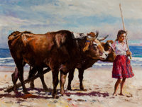 PAL FRIED (Hungarian/American, 1893-1976) Woman with Oxen Oil on canvas 30 x 40 in. Signed low