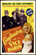 "Movie Posters:Exploitation, Confessions of a Vice Baron (American Trading Association, 1943).One Sheet (27"" X 41""). Exploitation.. ..."