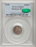 Seated Half Dimes, 1848 H10C Medium Date MS64 PCGS. CAC....