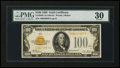 Small Size:Gold Certificates, Fr. 2405 $100 1928 Gold Certificate. PMG Very Fine 30.. ...