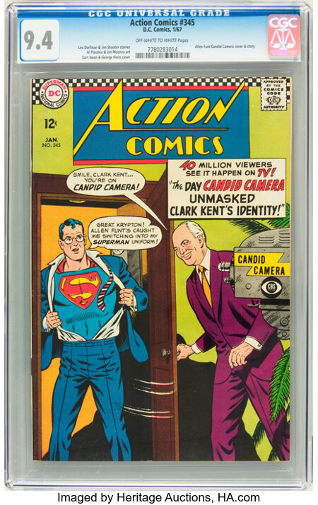 Action Comics #345 (DC, 1967) CGC NM 9.4 Off-white to white pages....
