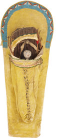 American Indian Art:Beadwork and Quillwork, A UTE BEADED HIDE CRADLEBOARD. c. 1890...