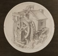 Paintings, DEAN CORNWELL (American, 1892-1960). The Old Mill. Graphite on paper. 16 in. diameter. Initialed lower right. ...
