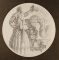 Paintings, DEAN CORNWELL (American, 1892-1960). The Locomotive. Graphite on paper. 17 in. diameter. Initialed lower center. ...