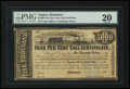 Confederate Notes:Group Lots, Ball 277 Cr. 137 $5000 1863 Four Per Cent Call Certificate PMG VeryFine 20.. ...