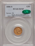 Gold Dollars, 1856-S G$1 Type Two XF45 PCGS. CAC....