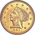 Territorial Gold, 1861 $2 1/2 Clark, Gruber & Co. Quarter Eagle MS61 PCGS. K-5a,R.4....
