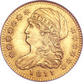 Early Half Eagles, 1811 $5 Small 5 MS61 NGC. Tall 5, Breen-6463, BD-1, High R.3....