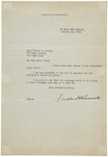 "Autographs:U.S. Presidents, Franklin D. Roosevelt Typed Letter Signed. One page, 7.25"" x 10.5"",""49 East 65th Street [New York City]"", October 24, 1..."