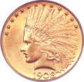 Indian Eagles, 1908-D $10 Motto MS65 PCGS Secure....