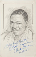 """Boxing Collectibles:Autographs, Archie Moore Signed Original Artwork From """"Raitt Collection"""" - Three Signatures...."""