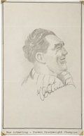 "Boxing Collectibles:Autographs, Max Schmeling Signed Original Artwork ""Raitt Collection""...."