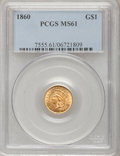 Gold Dollars: , 1860 G$1 MS61 PCGS. PCGS Population (8/72). NGC Census: (33/82).Mintage: 36,668. Numismedia Wsl. Price for problem free NG...