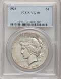 Peace Dollars: , 1928 $1 VG10 PCGS. PCGS Population (3/6858). NGC Census: (1/4471).Mintage: 360,649. Numismedia Wsl. Price for problem free...