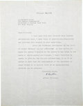 "Autographs:Celebrities, Albert Einstein Typed Letter Signed ""A. Einstein"". One page,8.5"" x 11"", New Jersey, February 29, 1952, on Einstein's pe..."