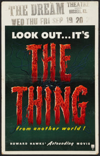 "The Thing From Another World (RKO, 1951). Window Card (14"" X 22""). Science Fiction"