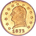 California Fractional Gold, 1872 25C Washington Round 25 Cents, BG-818, Low R.4, MS62 NGC....