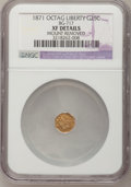 California Fractional Gold: , 1871 25C Liberty Octagonal 25 Cents, BG-717, R.3,--MountRemoved--NGC Details. XF. NGC Census: (0/36). PCGS Population(0/2...
