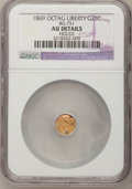 California Fractional Gold: , 1869 25C Liberty Octagonal 25 Cents, BG-751, High R.4,--Holed--NGCDetails. AU. NGC Census: (0/6). PCGS Population (1/61). ...