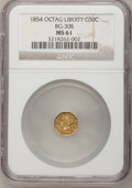 California Fractional Gold: , 1854 50C Liberty Octagonal 50 Cents, BG-308, R.4, MS61 NGC. NGCCensus: (3/9). PCGS Population (13/52). (#10428)...