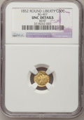 California Fractional Gold: , 1852 50C Liberty Round 50 Cents, BG-407, R.4,--Bent--NGC Details.Unc. NGC Census: (0/11). PCGS Population (1/46). (#1044...
