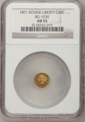 California Fractional Gold: , 1871 50C Liberty Round 50 Cents, BG-1030, R.6, AU55 NGC. NGCCensus: (0/1). PCGS Population (2/9). (#10859)...