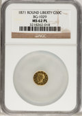 California Fractional Gold: , 1871 50C Liberty Round 50 Cents, BG-1029, High R.4, MS62 ProoflikeNGC. (#71085...