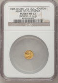 """California Gold Charms, """"1885"""" Arms of California Gold Charm MS63 NGC. Round, 0.14gm...."""