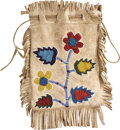 American Indian Art:Beadwork and Quillwork, A PLATEAU BEADED HIDE DRAWSTRING POUCH. c. 1890...